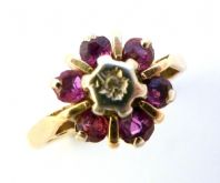 Vintage 9ct Gold Diamond And Ruby Cluster Ring.